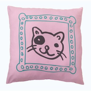 'Cat's Meow' Pink Microfiber Decorative Throw Pillow