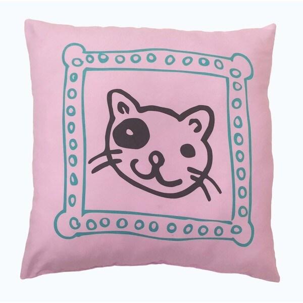 'Cat's Meow' Pink Microfiber Decorative Throw Pillow