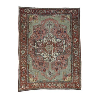 Shahbanu Rugs Good Condition Antique Persian Serapi Hand-knotted Wool Even Wear Rug (9'5 x 12'8)