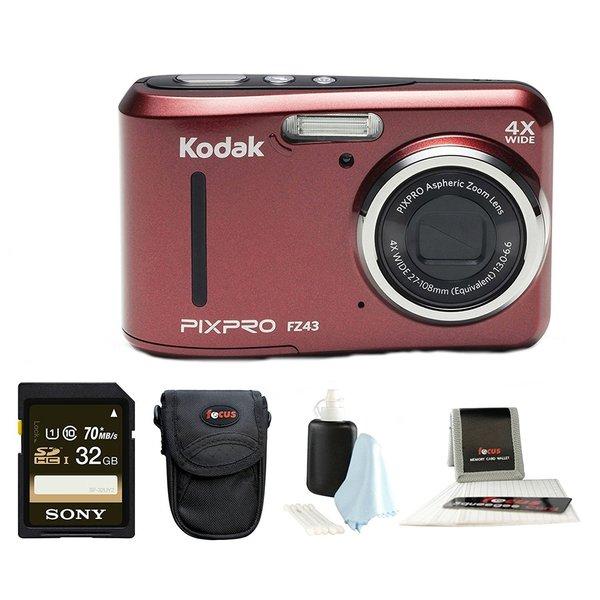 Kodak PIXPRO Friendly Zoom FZ43 (Red) + Sony 32GB Class 10 70MB/s SDHC + Case
