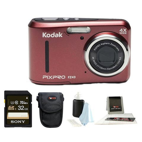 Kodak PIXPRO Friendly Zoom FZ43 (Red) + Sony 32GB Class 10 70MB/s SDHC + Case