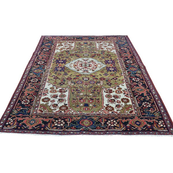 Hand Knotted Heriz Wool Fine Persian Oriental Area Rug: Shop Shahbanu Rugs Mint Condition Antique Persian Heriz