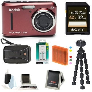 Kodak PIXPRO Friendly Zoom FZ43 (Red) w/ Sony 32GB Class 10 70MB/s SDHC Bundle