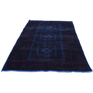 1800getarug Persian Baluch Navy Wool Overdyed Hand-knotted Wide Runner Rug (3'10 x 6'6)