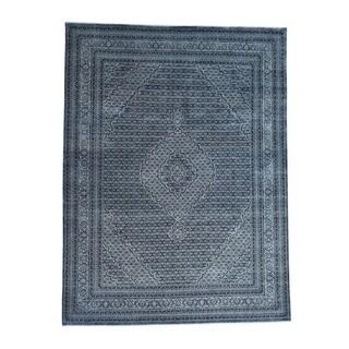 1800getarug Tabriz Mahi Oriental Tone-on-tone Blue Wool/Silk Handmade Rug (8'9 x 11'8)