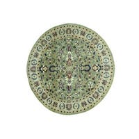 1800getarug Mahal Oriental Light Green Pure Wool Hand-knotted Round Rug (8' x 8'3)