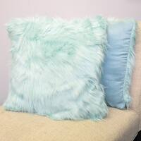 "Mongolian Faux Fur Long Hair Decorative Pillow Pair (18""x18"") Assorted Colors - Set of 2"