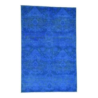 1800getarug Pure Wool Handmade Ikat Design Peshawar Overdyed Oriental Rug (6' x 9'1)