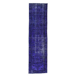 1800getarug Hand-knotted Runner Overdyed Purple Wool Persian Malayer Oriental Rug (2'4 x 8'6)