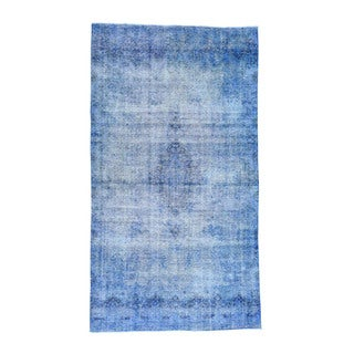 1800getarug Tabriz Blue Wool Hand-knotted Overdyed Wide Runner Rug (7'3 x 13')