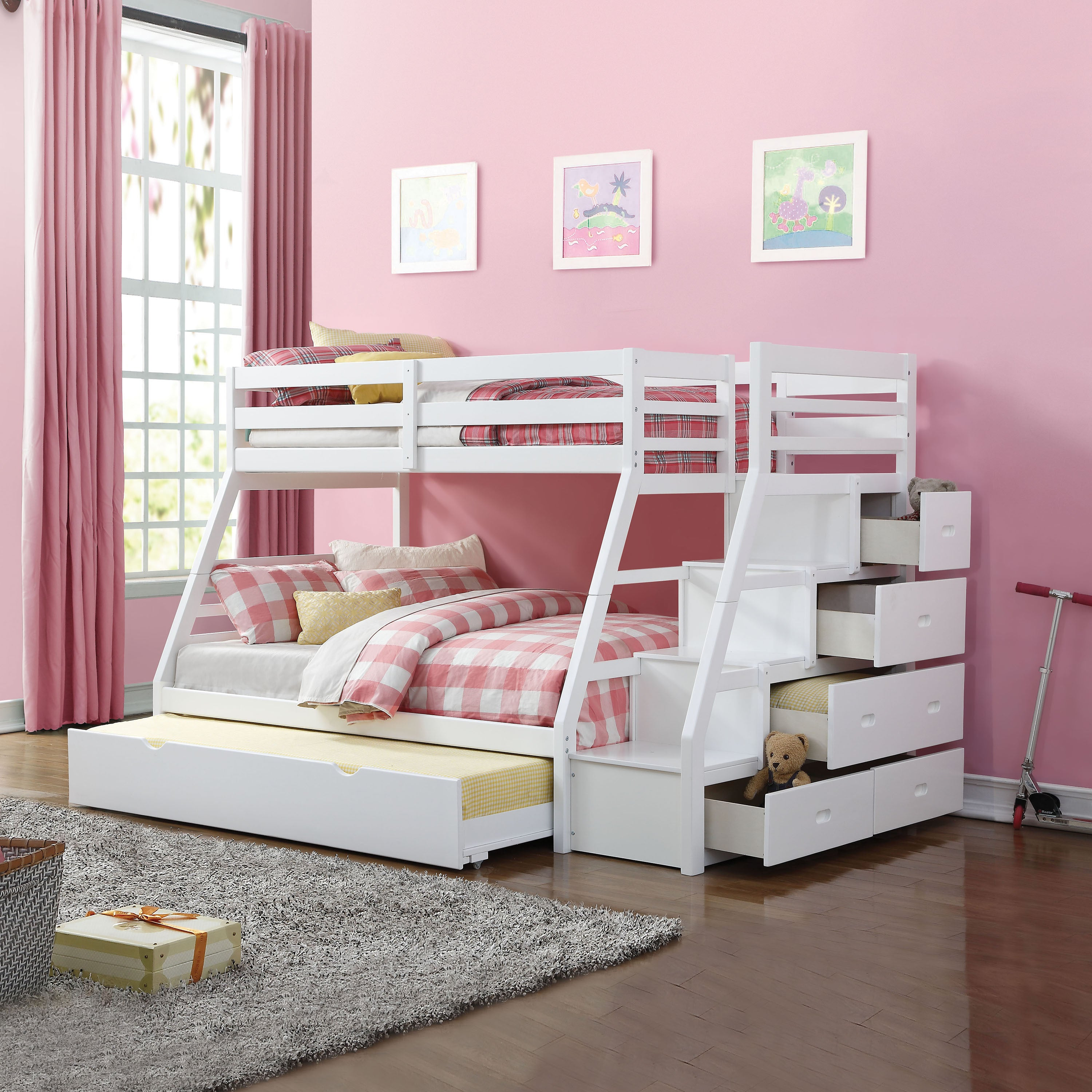 Picture of: Acme Furniture Jason White Twin Over Full Bunk Bed With Storage Ladder And Trundle Overstock 15053992