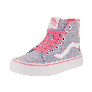 Vans Kids' Sk8-Hi Zip Chambray Hearts Blue Skate Shoes