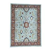 Shahbanu Rugs Heriz Sky Blue Wool Hand-knotted Oriental Area Rug (10' x 13'7)