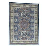 Shahbanu Rugs Navy Blue Peshawar Hand-knotted Mamluk Design Oriental Rug (10'2 x 14')