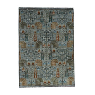 1800getarug Grey Wool Willow and Cypress Tree Design Hand-knotted Peshawar Rug (5'2 x 7'3)