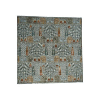 1800getarug Hand-knotted Square Cypress and Willow Tree Design Peshawar Rug (10' x 10')