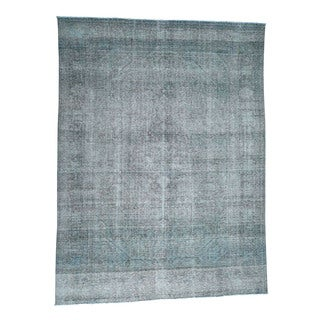 1800getarug Grey Wool Handmade Overdyed Tabriz Zero-pile Shaved Thin Oriental Rug (9'7 x 12'5)