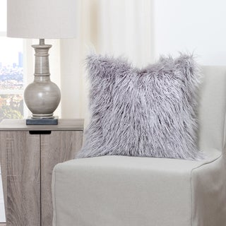 Siscovers Llama Silver Faux Fur Down Filled Throw Pillow