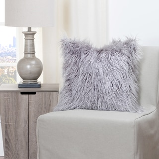 Siscovers Llama Silver Faux Fur Throw Pillow