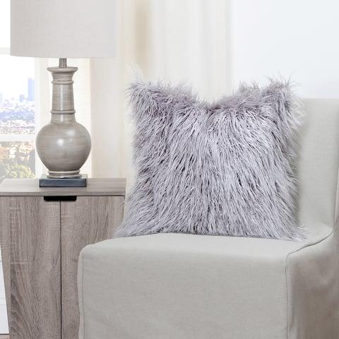 Siscovers Llama Silver Faux Fur Throw Pillow