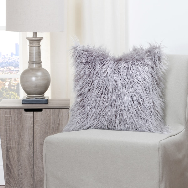 Shop Siscovers Llama Silver Faux Fur Throw Pillow On