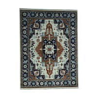 Shahbanu Rugs Antiqued Heriz Oriental Hand-knotted Pure Wool Rug (9'3 x 12'4)
