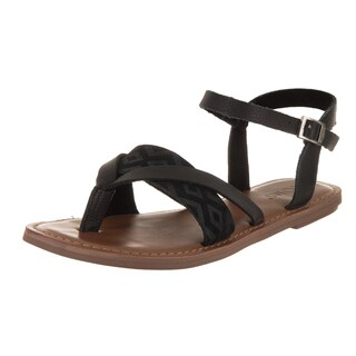 Toms Women's Lexie Black Synthetic Leather Sandals