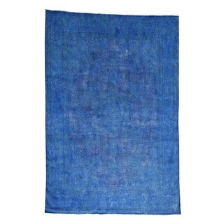1800getarug Hand-knotted Kerman Overdyed Blue 100-percent Wool Oriental Rug (8'2 x 12')