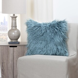 Havenside Home Wakulla Llama Teal Faux Fur Throw Pillow (2 options available)