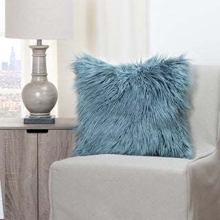 The Curated Nomad Carmel Llama Teal Faux Fur Throw Pillow