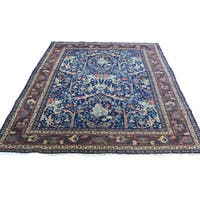 Shahbanu Rugs Antique Persian Tabriz Navy Blue Hand-knotted Full-pile Rug (4'6 x 6'3)