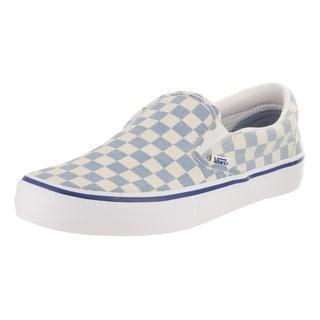 Vans Men's Slip-On Pro White Canvas Checkerboard Skate Shoes