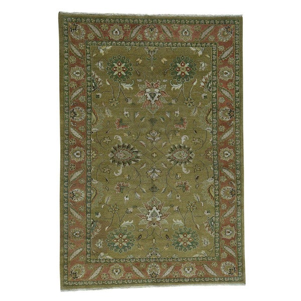 Vegetable Dyed Hand Knotted Floral Oushak Ivory Persian: Shop Shahbanu Rugs Mahal Vegetable-dyed Green Hand-knotted