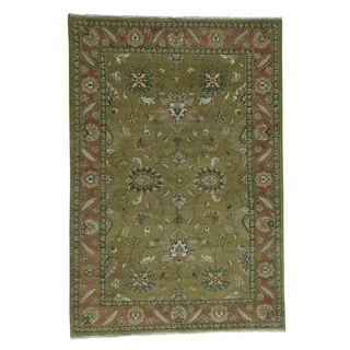 1800getarug Mahal Vegetable-dyed Green Hand-knotted Pure Wool Rug (9'2 x 12'3)