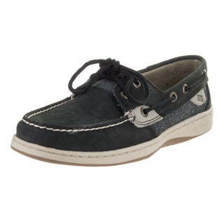 Sperry Top-Sider Women's Bluefish Pin Dot Black Nubuck Boat Shoe