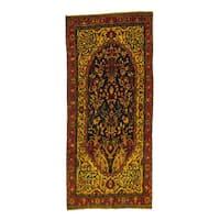 Shahbanu Rugs Persian Bakhtiari Multicolor Pure Wool Wide Handmade Overdyed Runner Rug - 4'6x10'3