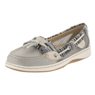 Sperry Top-Sider Women's Dunefish Grey Leather Denim Stripe Boat Shoes
