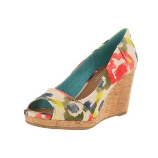 Toms Women's Stella Multicolor Canvas Wedge-heel Peep-toe Shoes