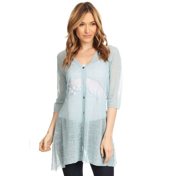 High Secret Women's Blue Short-sleeve Button-up Lace Panel Loose-fit Cardigan