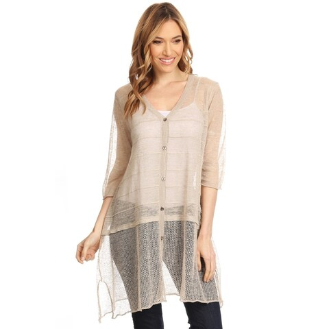 High Secret Women's Khaki Short-sleeve Button-up Long Loose-fit Sheer Knit Cardigan