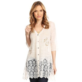 High Secret Women's Off-white Fabric Lace Panel Accents Loose Fit Sheer Cardigan
