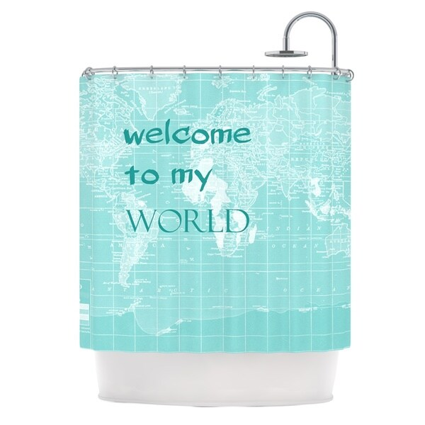 KESS InHouse Catherine Holcombe Welcome to my World Quote Shower Curtain (69x70)