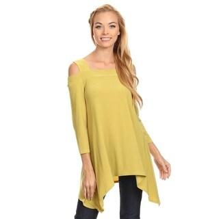 High Secret Women's Solid Color Cut-out Shoulder Long-sleeved Tunic Top