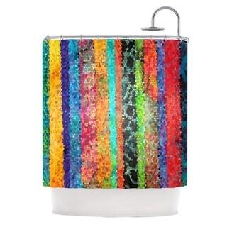 KESS InHouse Catherine Holcombe Stained Glass Batik Mosaic Stripe Shower Curtain (69x70)