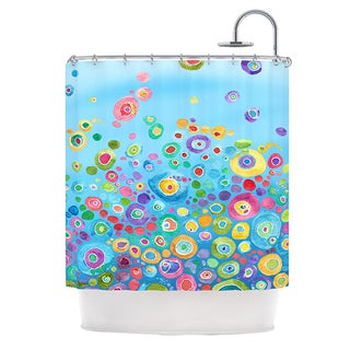 KESS InHouse Catherine Holcombe Inner Circle Blue Shower Curtain (69x70)