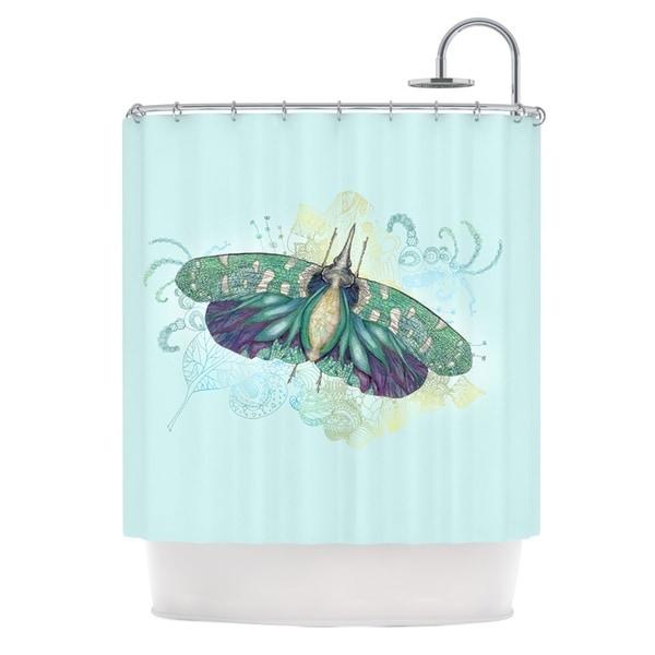 KESS InHouse Catherine Holcombe Blue Deco Teal Moth Shower Curtain (69x70)