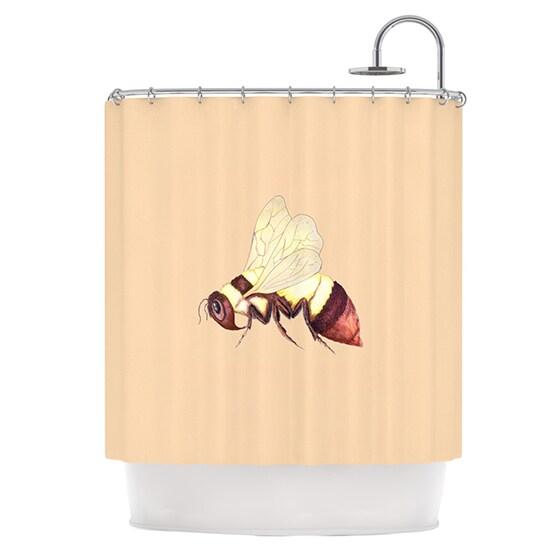 KESS InHouse Catherine Holcombe Bee Happy Beige Shower Curtain (69x70)