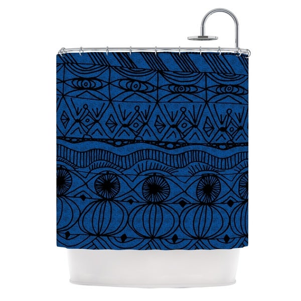 KESS InHouse Catherine Holcombe Black and Blue Pattern Shower Curtain (69x70)