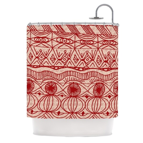 KESS InHouse Catherine Holcombe Cranberry and Cream Pattern Shower Curtain (69x70)