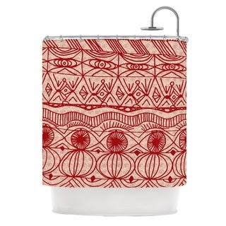 Delightful KESS InHouse Catherine Holcombe Cranberry And Cream Pattern Shower Curtain  (69x70)